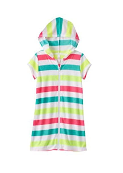 96d74754f0 DAYU Girls Hooded Terry Swimsuit Cover up Zip Front Bathrobe