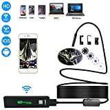 Wireless Endoscope,5 Meter WiFi Borescope Inspection Camera 2.0 Megapixels HD 1200P Camera with 8 Leds for Android/iOS/Windows/MAC