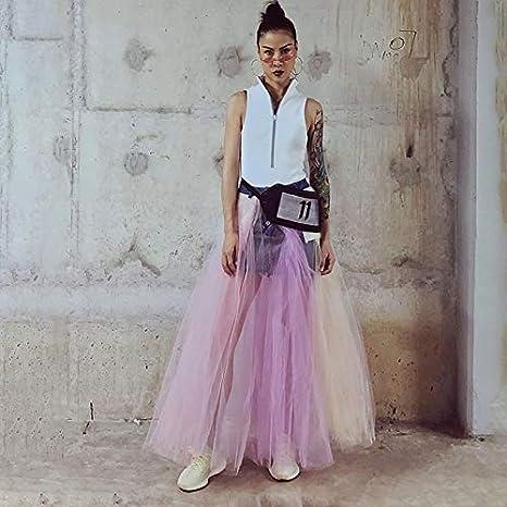 GDNTCJKY Faldas para Mujer Malla Patchwork Falda Larga De ...