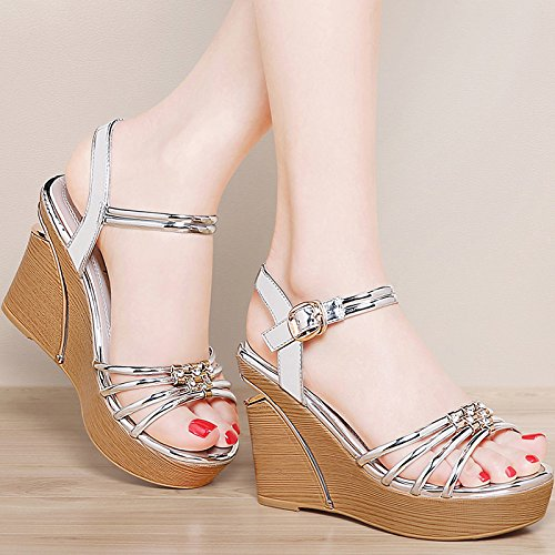 Summer silvery All Bottom Thick Shoes Heel HGTYU In Muffin Rome High Student Female Match Sandals Wedge Summer 9Cm xxqYBwaHT