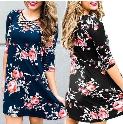 Blue Sleeve Dress Long Floral Dress Flower Printing V Travel Mini Neck Beach Short Dress Women's Wz6ZAOp