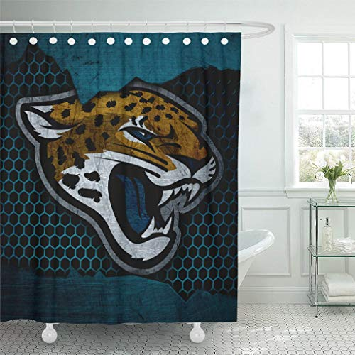 - Ladble Decor Shower Curtain Set with Hooks Jacksonville City Jaguars Football Grunge Metal Texture South Division 72 X 78 Inches Polyester Waterproof Bathroom