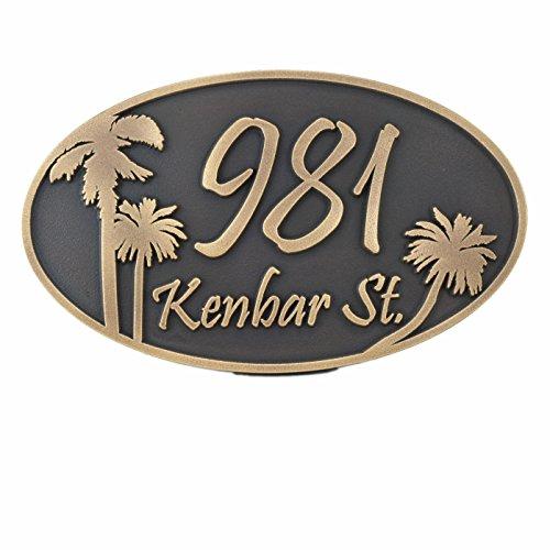 - Palm Tree Custom Plaque Oval 15x9 - Raised Brass Patina Coated