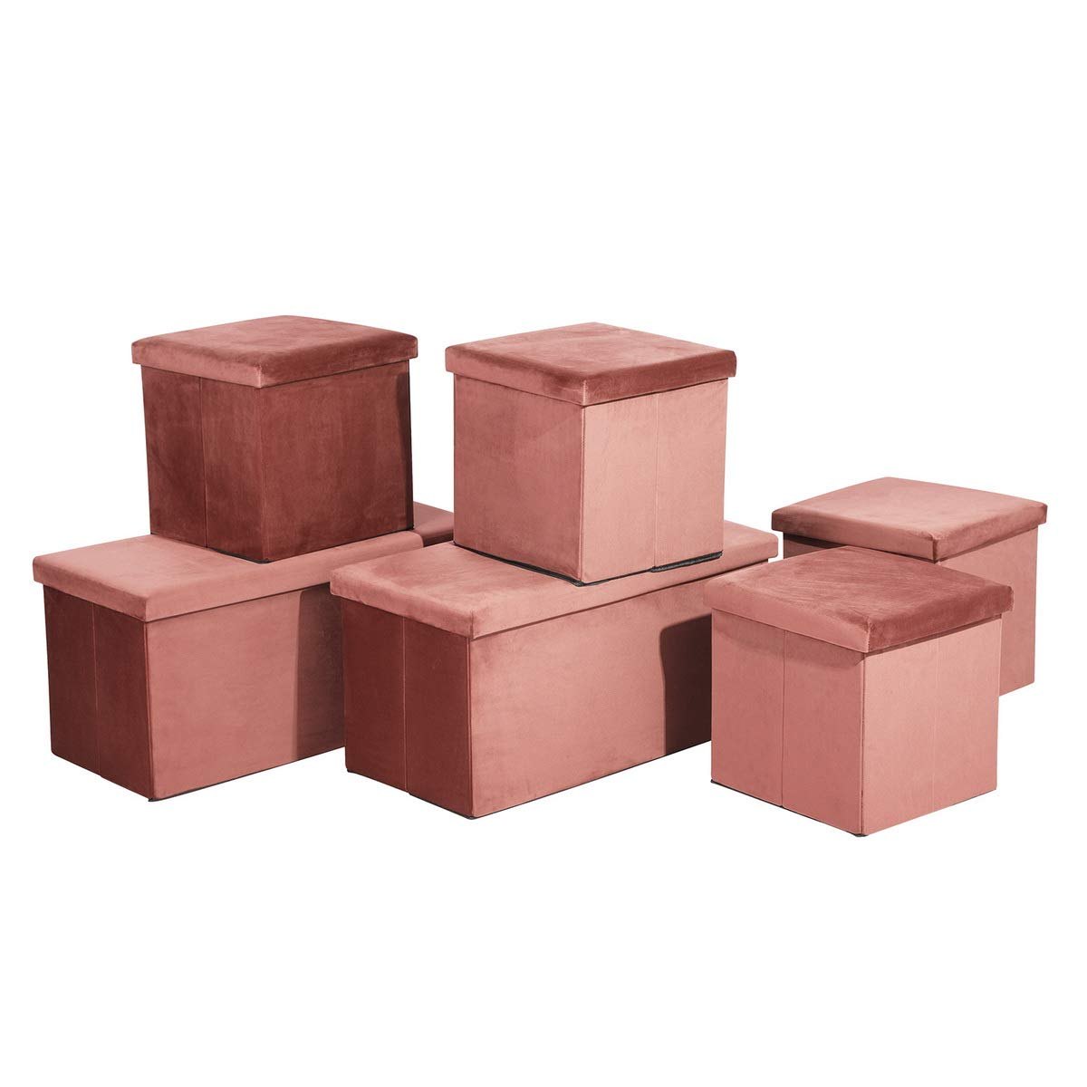 FurnitureR Set of 3 Multifunction Storage Ottoman Cube Fabric Cover Box, 4 Cube Box, 2 Rectangle Foot Rest Stool