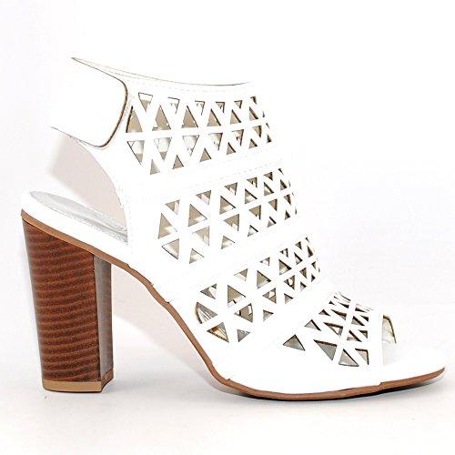 728137b4921 60%OFF Peep Toe Ankle Strap Sandal – Western Bootie Low Stacked Heel Open  Toe