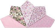 Houlife 5-10 Pieces 100% Cotton Pink Floral Printed Handkerchief Elegant Hankies for Women Ladies Girls Weddin