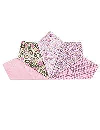 Houlife 5-10 Pieces 100% Cotton Pink Floral Printed Handkerchief Elegant Hankies for Women Ladies Girls Wedding Party