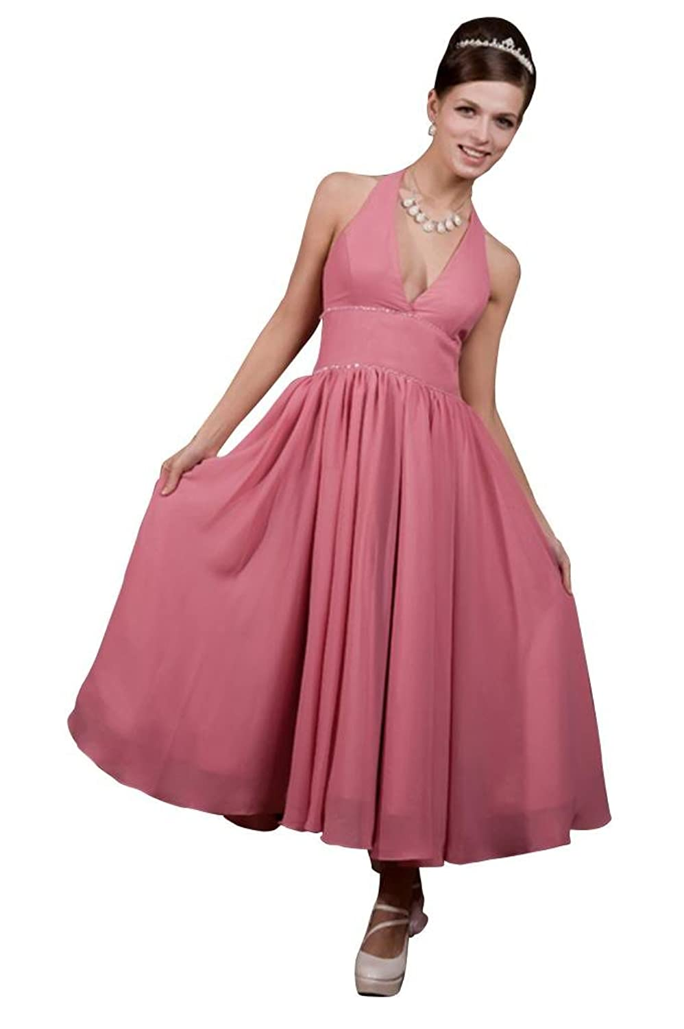 GEORGE BRIDE Sexy Halter Tea-length Chiffon Evening Dress