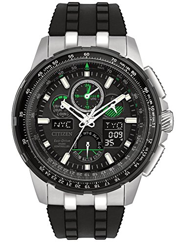 08e Watch - Citizen Men's 'Eco-Drive' Quartz Stainless Steel and Polyurethane Aviator Watch, Color Black (Model: JY8051-08E)