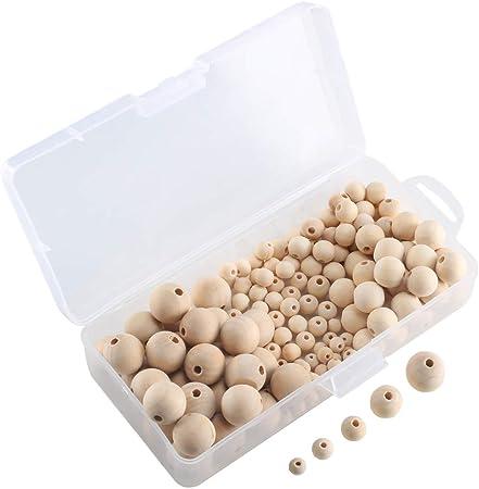 50 perline tonde da 15 mm Beads Unlimited in legno naturale