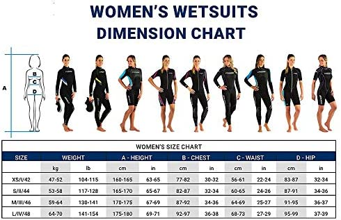 Cressi Women's Med X Lady Shorty Wetsuit, Black/Orange, XXL/6 (52/54)
