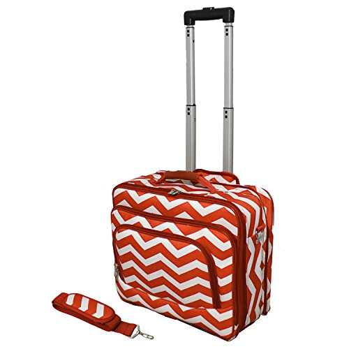 World Traveler Fashion Print Women's Rolling 17-Inch Laptop Case, Orange White Chevron, One Size ()