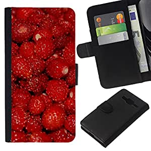 JackGot ( Frutta Macro lampone rosso ) Samsung Galaxy Core Prime la tarjeta de Crédito Slots PU Funda de cuero Monedero caso cubierta de piel