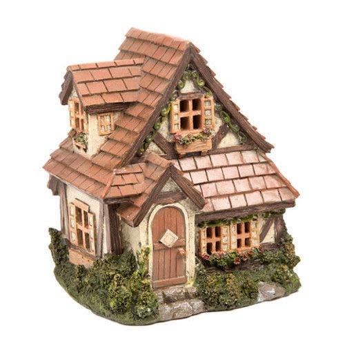 Fairy Garden Mini - Garden Cottage House with Shingle Roof - Outdoor Garden Statue - Best Outdoor Accessory - 6'' Wide x 5.5'' Deep x 6.75'' High