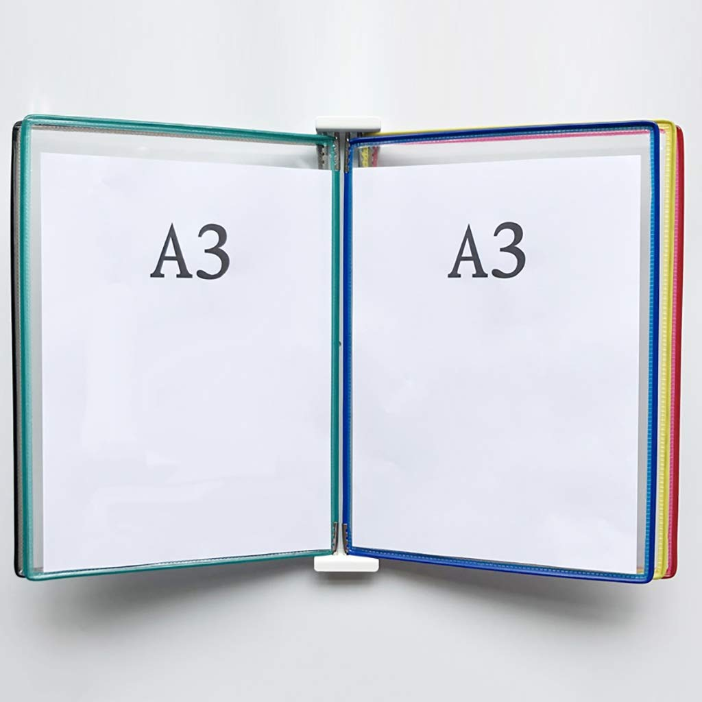 A3 5 Pages Shop Page flip Folder Magnetic Wall-Mounted Loose-Leaf Transparent File Holder,Workshop Assembly line Turning Job Guidance Folder(PVC + Metal) 45335CM (Color : K)