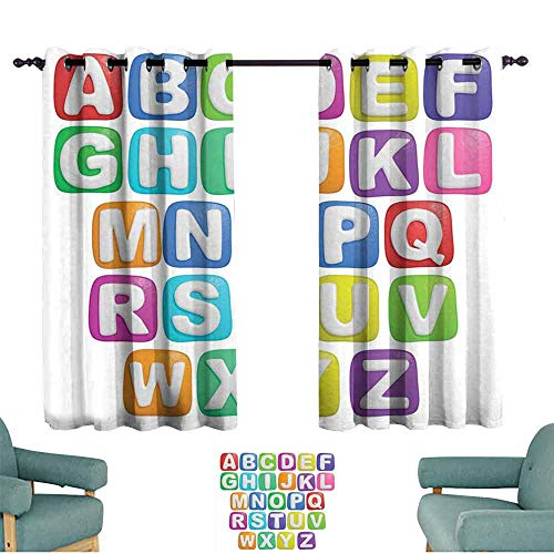 Mannwarehouse Letter Privacy Curtain Cartoon Style Colorful Alphabet Squares Children Kids Nursery Kindergarten Design for Living, Dining, Bedroom (Pair) 55