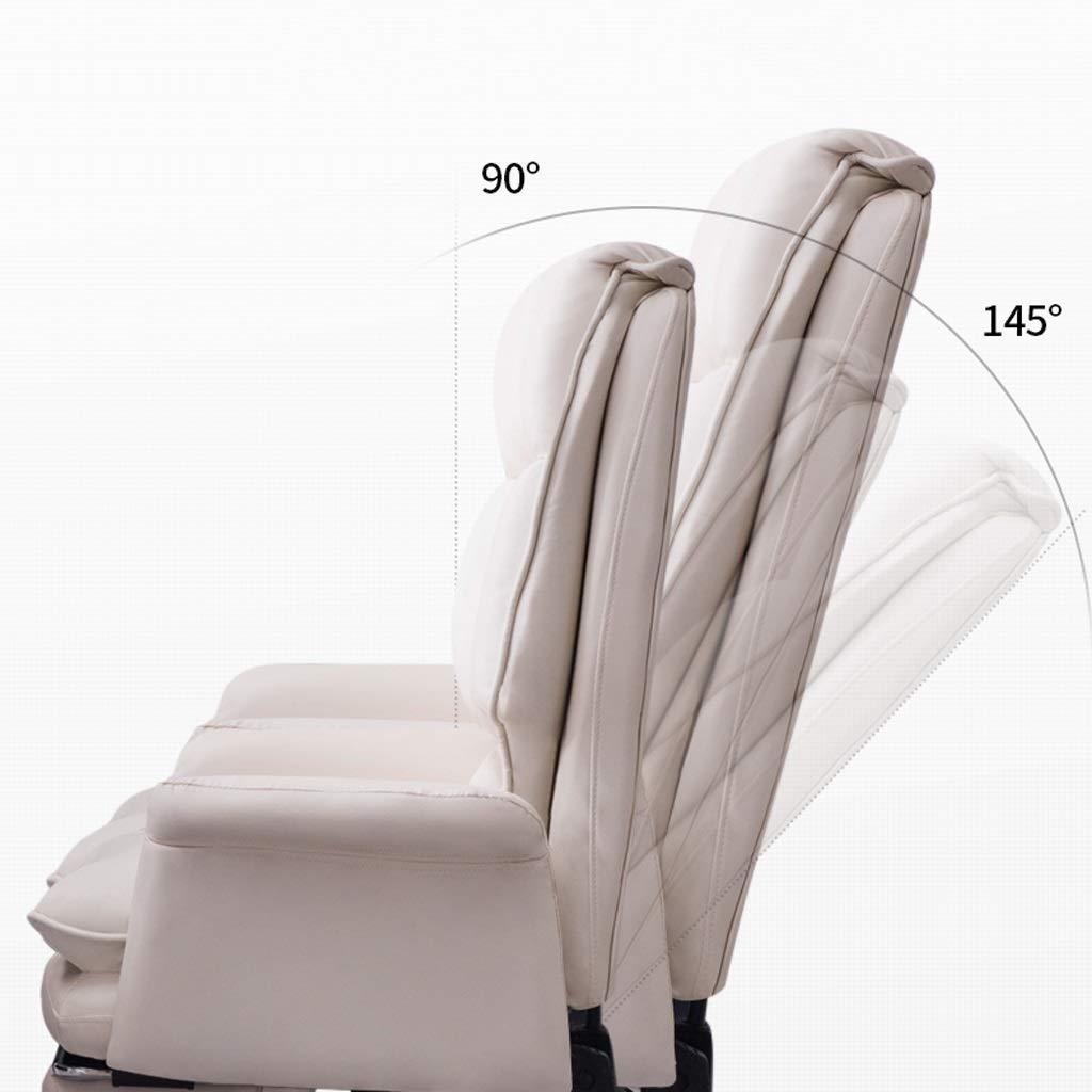 Aoyo stolar kontor datorstol, enkel chef affärsstol, liggande bekväm roterande stol kontorsmöbler (färg: Svart med fot) White-with Footres