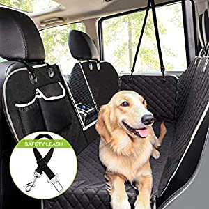 Pecute Pet Seat Cover Car Seat Cover for Pets with Perspective Net and Storage Bags - Waterproof & Scratch Proof & Nonslip Backing & Hammock, Durable Pet Seat Covers for Cars Trucks and SUVs 54