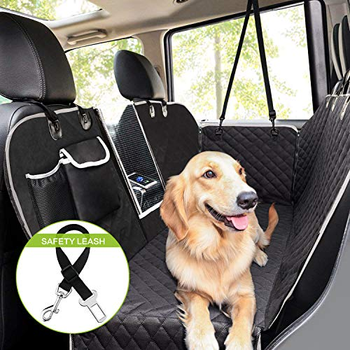 Pecute Dog Seat Cover 100% Waterproof Car Seat Covers for Pets Back Seat Cover with Mesh Window, Scratch Proof Nonslip Dog Car Hammock,Car Seat Covers for Dogs, Dog Backseat Cover ()