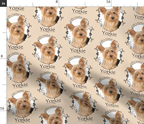 (Spoonflower Yorkshire Fabric - Life's Better Yorkie Ii Dog Puppy Frames Decor Upholstery Terrier Pet Print on Fabric by The Yard - Fleece for Sewing Blankets Loungewear and No-Sew Projects)