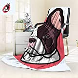 vanfan Throw Fuzzy Fleece Microfiber Blanket French Bulldog Portrait Hipster Purebred Creature Pet Illustration Baby Blue Red Brown,Silky Soft,Anti-Static,2 Ply Thick Blanket. (80''x60'')