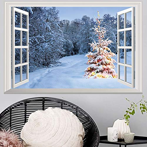 Creative 3D Space Wall Decals - Removable PVC Window Christmas Snowfall Stickers Murals Wallpaper Art Decor for Home Walls Ceiling Boys Room Kids Bedroom Nursery School -