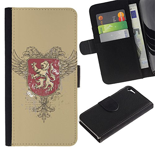 OMEGA Case / Apple Iphone 5 / 5S / The Majestic Royal Lion Crest / Cuir PU Portefeuille Coverture Shell Armure Coque Coq Cas Etui Housse Case Cover Wallet Credit Card