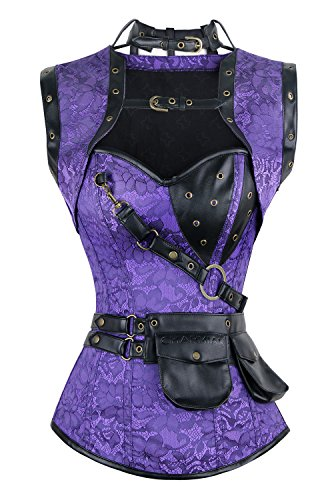 (Charmian Women's Steel Boned Retro Goth Brocade Steampunk Bustiers Corset Top with Jacket and Belt Purple)