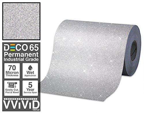 VViViD Glitter Silver DECO65 Permanent Adhesive Craft Vinyl 1 Feet x 6 Feet Roll for Cricut, Silhouette & Cameo