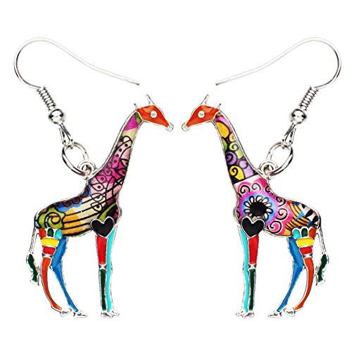 NEWEI Enamel Alloy African Giraffe Earrings Dangle Drop Fashion Animal Jewelry For Women Girls Gift (multicolor)