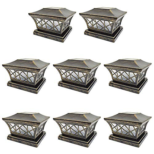 (iGlow 8 Pack Vintage Bronze 6 x 6 Solar Post Light Frosted Lens SMD LED Deck Cap Square Fence Landscape PVC Vinyl Wood)