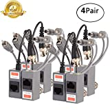 Video Balun,BNC Passive Audio Power Transmitter/Transceiver Connectors Adapter with RJ45 Terminal Via CAT5/5E/6 Twisted-Pair Cable for HD-CVI-TVI/AHD 720P-1080P Video Surveillance Systems 4Pairs/8PCS