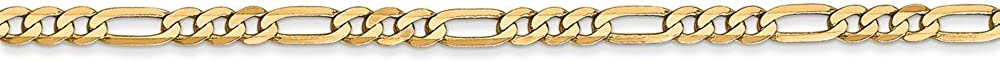 Solid 14k Yellow Gold 2.75mm Flat Figaro with Secure Lobster Lock Clasp