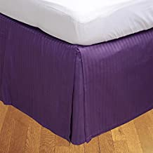 Relaxare Expanded Queen 600TC 100% Egyptian Cotton Purple Stripe 1PCs Box Pleated Bedskirt Stripe (Drop Length: 29 inches) - Ultra Soft Breathable Premium Fabric