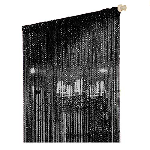 Duosuny 39x78 Inch Door String Curtain Rare Flat Silver Ribbon Thread Fringe Window Panel Room Divider Cute Strip Tassel for Wedding Coffee House Restaurant Parts (Pack of 2 Black) (Wooden Beads Hanging Door)