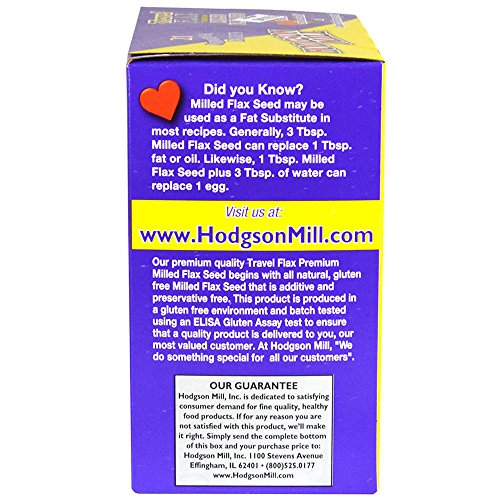 Hodgson Mill Travel Milled Flax Seed, 21 Count, 4.8 Oz (Pack of 6), Individual Single Serve Packs of Ground Flax Seed, Great Over Salads, Yogurt, Overnight Oatmeal, or Baked Goods Like Muffins
