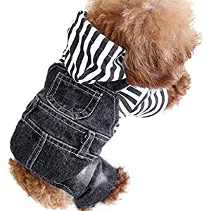 SILD Pet Denim Jumpsuit Dog Jeans Hoodies Cool Blue Coat Medium Small Dogs Classic Jacket Puppy Blue Vintage Washed Vests 45