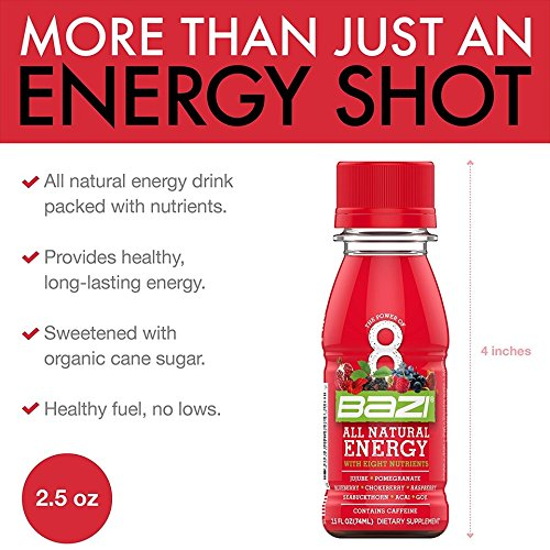 Bazi All Natural Energy Drink 12 Pack - 2.5 oz Liquid Energy Shots Extra Strength - Best Healthy Source of B12 Vitamin Antioxidants and 8 Superfruits (144 Pack) by Bazi (Image #2)