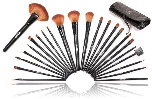 SHANY qualité studio Brush Set cosmétique naturelle avec étui en cuir, 24 Count