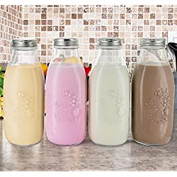 Reusable Glass Milk Bottles with Metal Lids, Set of 4