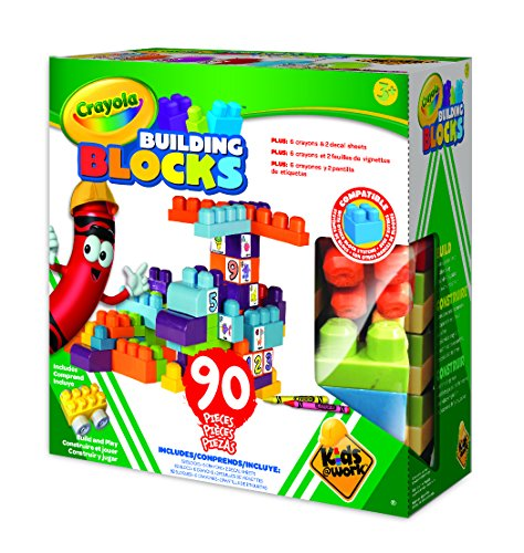 Kids at Work Crayola Customizable Building Blocks Boxed Playset By Amloid I Colorful 90 Piece Set I Decals and Crayons Included (Duplo Pink Box Brick)