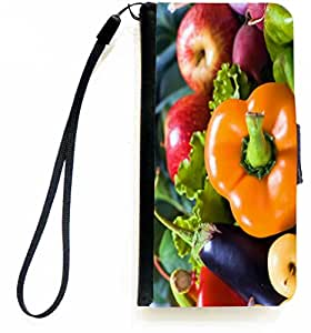 Rikki KnightTM Colorful Vegetables PU Leather Wallet Type Flip Case with Magnetic Flap and Wristlet for Apple iPhone 5 &5s
