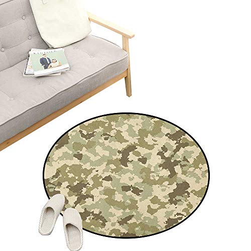 Camo Custom Round Carpet ,Old Fashioned Camouflage Pattern Classical Jungle Survival Theme, The Custom Round Non-Slip Doormat 23
