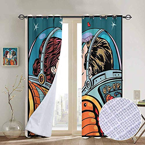 hengshu Love Decor Room Darkened Insulation Grommet Curtain Space Man and Woman Valentines Kissing Science Cosmos Couple Pop Art Design Print Living Room W96 x L84 Inch Multi
