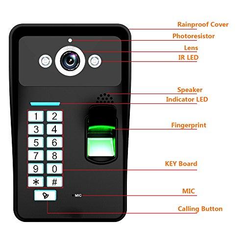 Mountainone Touch Key 7 Quot Fingerprint Rfid Video Door Phone