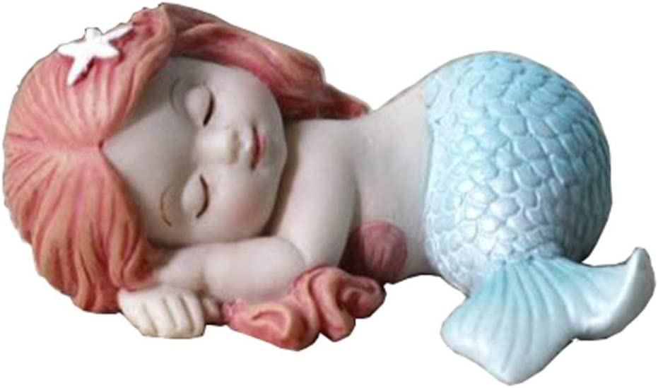 Miniature Fairy Garden and Aquarium Decorations Resin Sleeping Little Mermaid Statue Blue