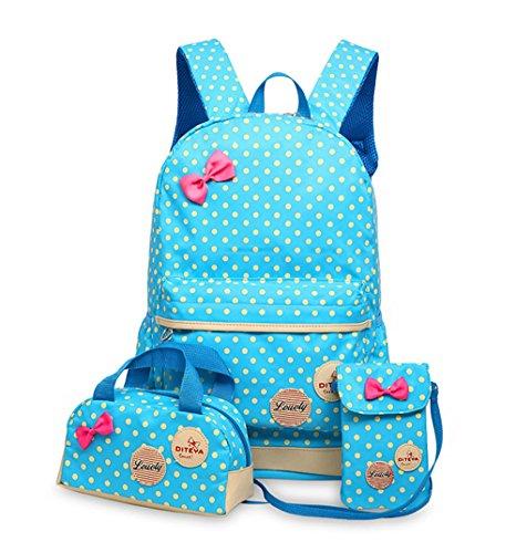 Tibes Moda Chicas Mochila de nylon + bolsa de almuerzo + Monedero Mochila de 3 piezas Cielo azul