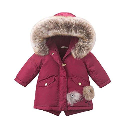 Baby Down Sweater (DAVE&BELLA Baby Girls Down Jacket Children White Duck Down Padded Coat Kids Hooded Outerwear Wine (18M))