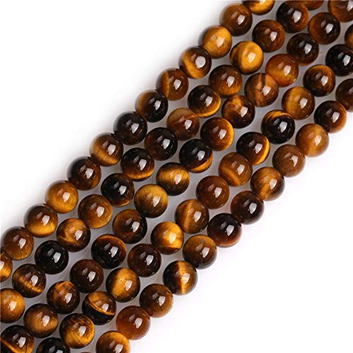 (GEM-inside Tiger Eye Gemstone Loose Beads Natural 6mm Round Crystal Energy Stone Power for Jewelry Making 15'')