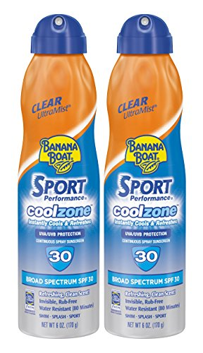 (Banana Boat Sunscreen Sport Performance Coolzone, Broad Spectrum Sunscreen Spray - SPF 30-6 Ounce Twin Pack )